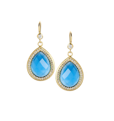 Cat's Eye + Simulated Diamond Dangle Earrings
