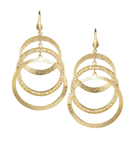 Triple Circle Simulated Diamond Dangle Earrings - Closeout