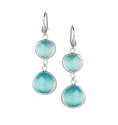 Aqua Cat's Eye Rhodium Dangle Earrings