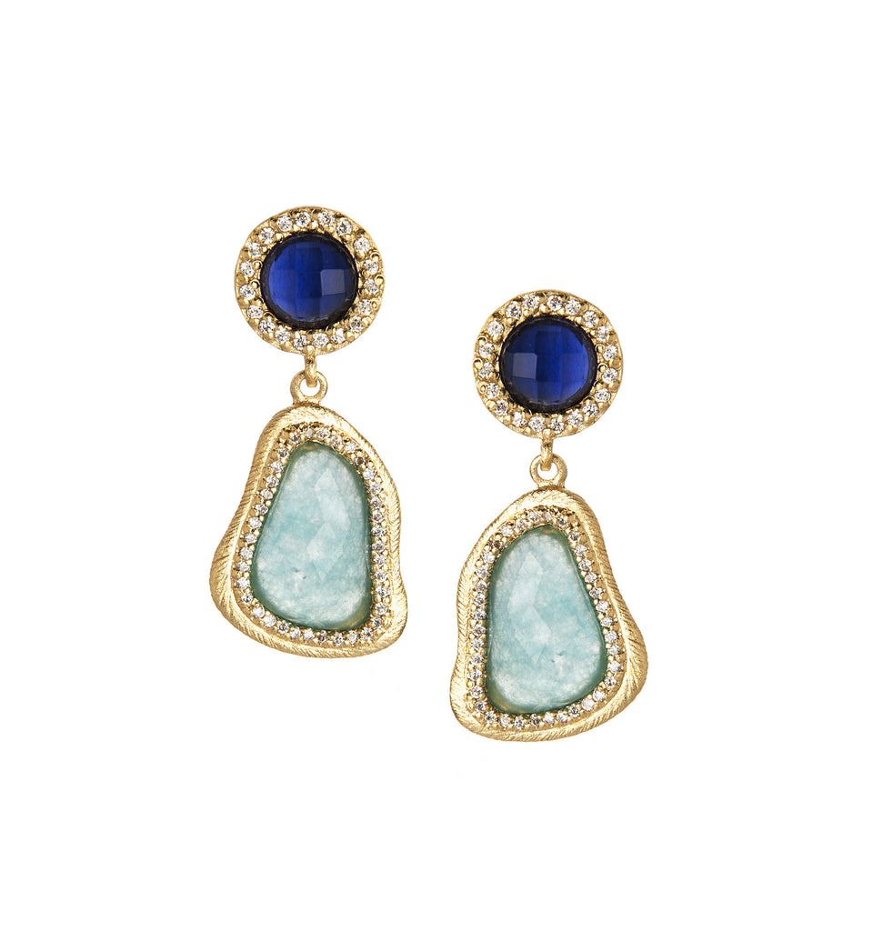 Iolite + Caribbean Blue Quartzite Dangle Earrings