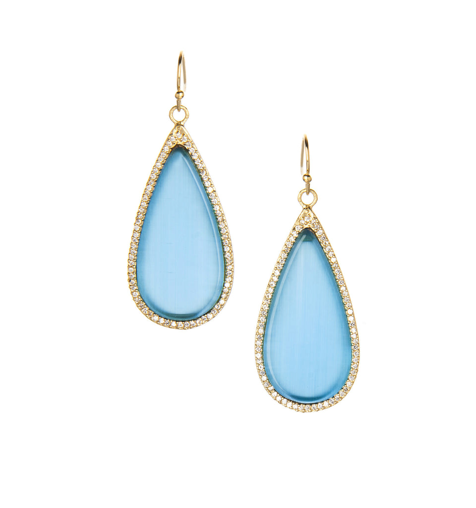 Blue Cat's Eye + Simulated Diamond Sliced Earrings