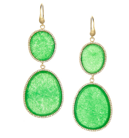 Green Quartzite + Simulated Diamond Double Dangle Earrings