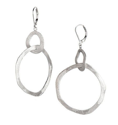 Organic Intertwined Round Rhodium Dangle Earrings