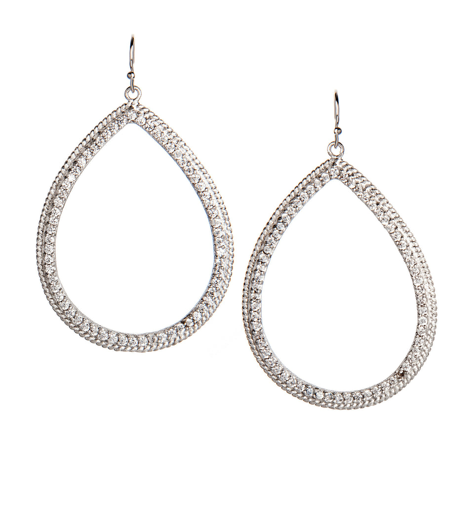 Simulated Diamond Rhodium Dangle Earrings