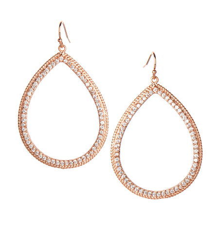 Simulated Diamond Rose Gold Dangle Earrings