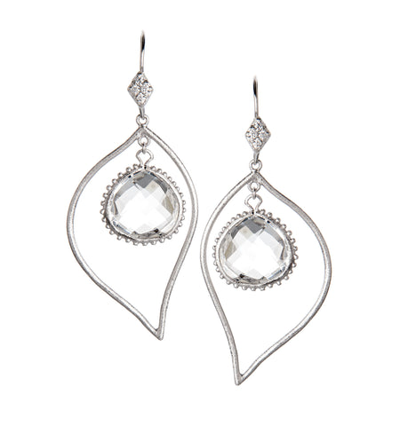 Rock Crystal + Simulated Diamond Rhodium Dangle Earrings