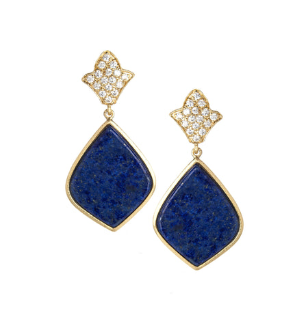 Lapis + Simulated Diamond Earrings