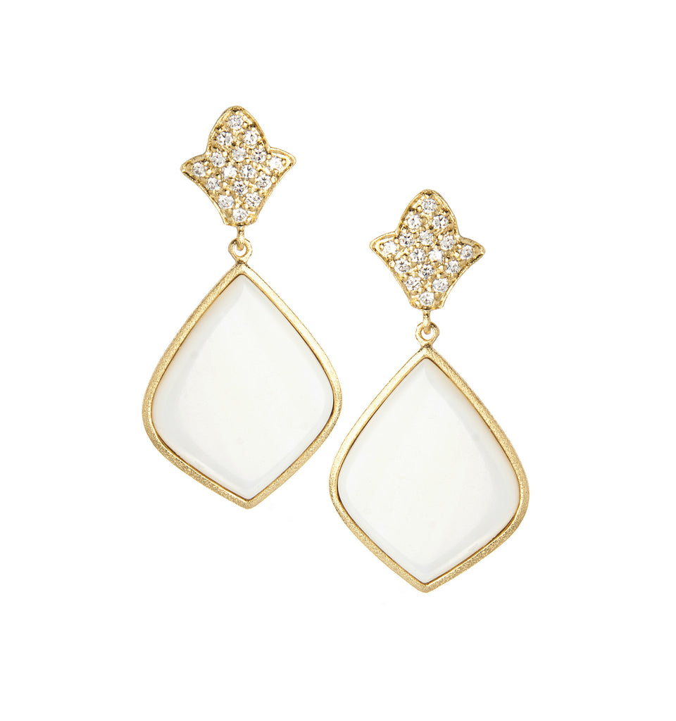 Mother of Pearl + Simulated Diamond Earrings