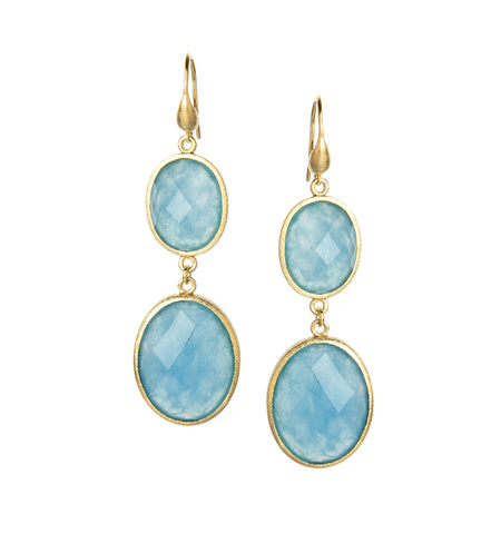 Caribbean Blue Quartzite Graduated Double Dangle Earrings