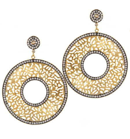 Simulated Diamond Two Tone Disc Drop Earrings