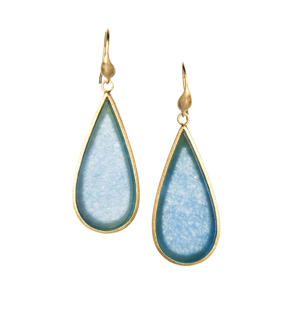 Caribbean Blue Quartzite Sliced Dangle Earrings