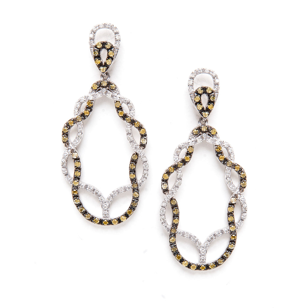 White + Champagne Diamond Earrings - Closeout
