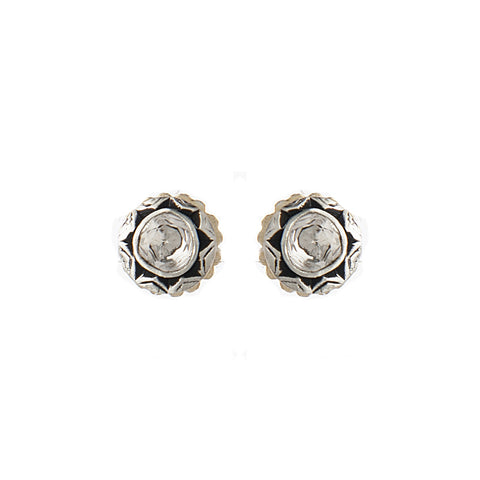 Signature Collection Rose Cut Diamond 14K & Silver Stud Earrings
