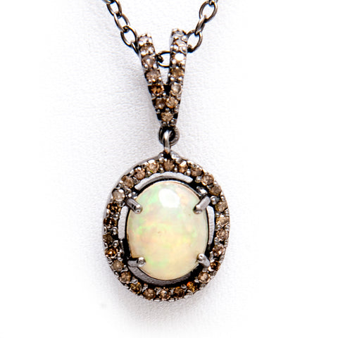 Oxidized Sterling Opal + Champagne Diamond Pendant - Closeout