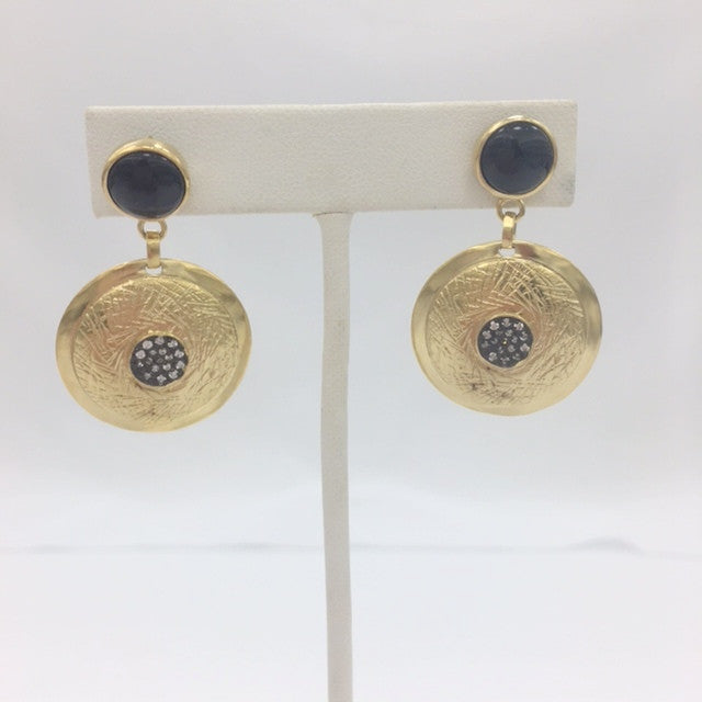 Black Onyx & CZ Two Tone Disc Earrings - Closeout