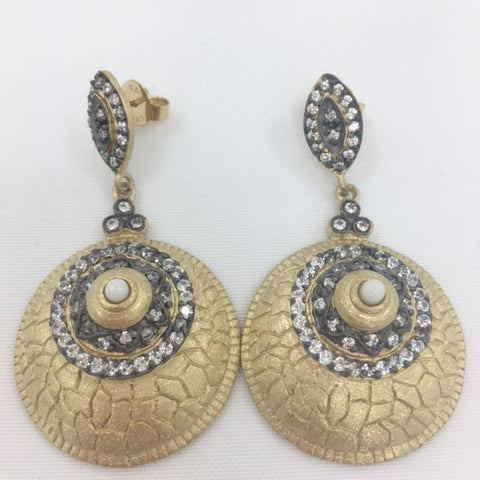 Mother of Pearl & CZ Two Tone Disc Drop Earrings - Closeout