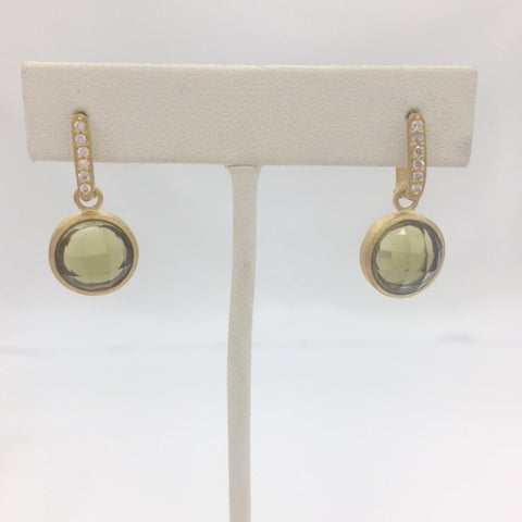 Olive Crystal & CZ Round Drop Earrings - Closeout