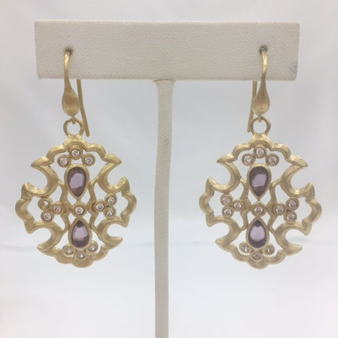 Amethyst Crystal & CZ Cross Earrings - Closeout