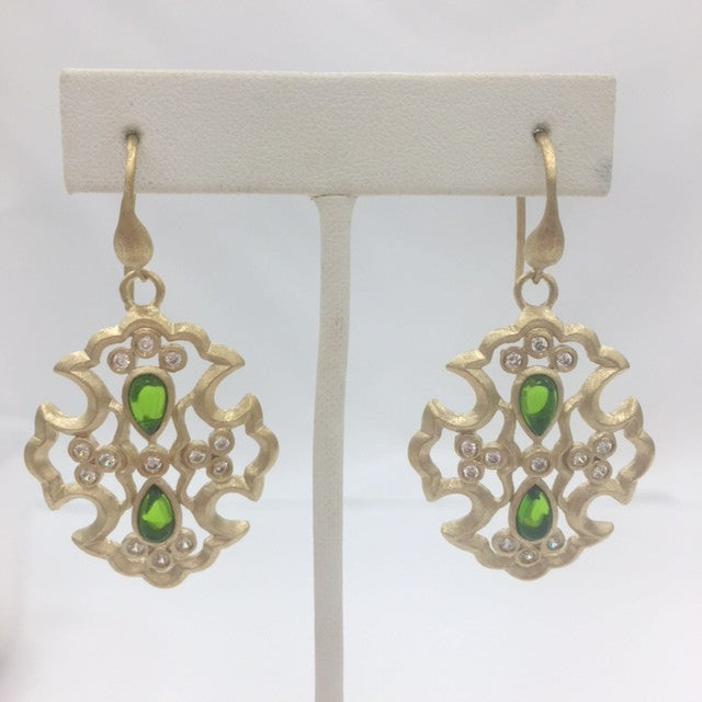 Peridot Crystal & CZ Cross Earrings - Closeout