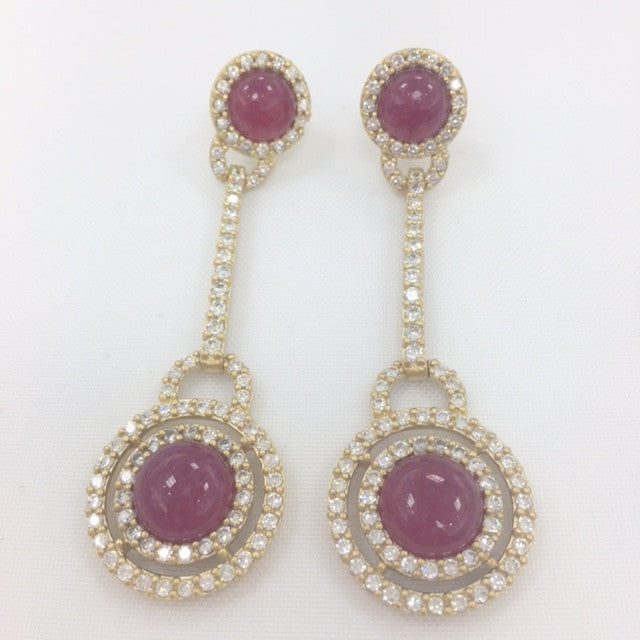 Ruby Quartzite & CZ Drop Earrings - Closeout