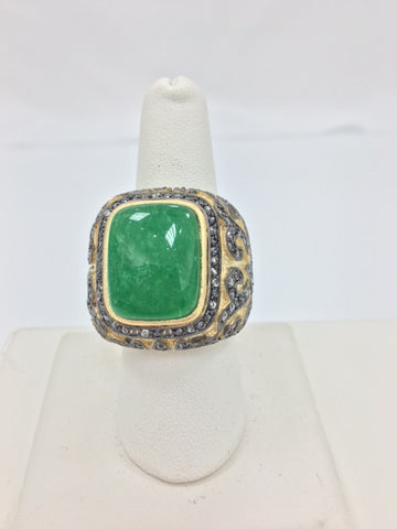 Green Quartzite + CZ Two Tone Ring - Closeout