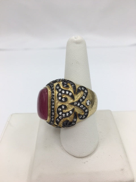 Red Quartzite + CZ Two Tone Ring - Closeout