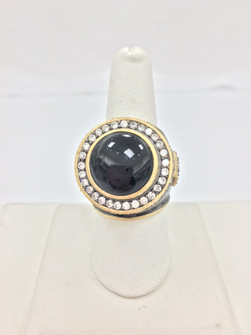 Black Onyx + Simulated Diamond Two Tone Ring - Closeout
