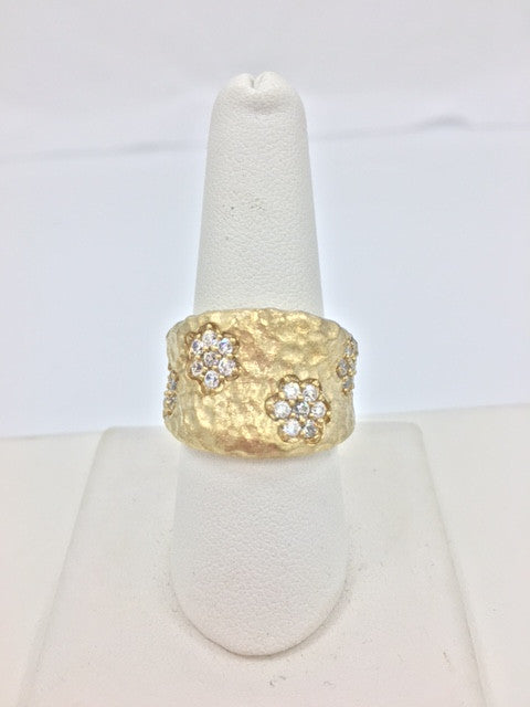 Simulated Diamond Flower Band Ring - Closeout