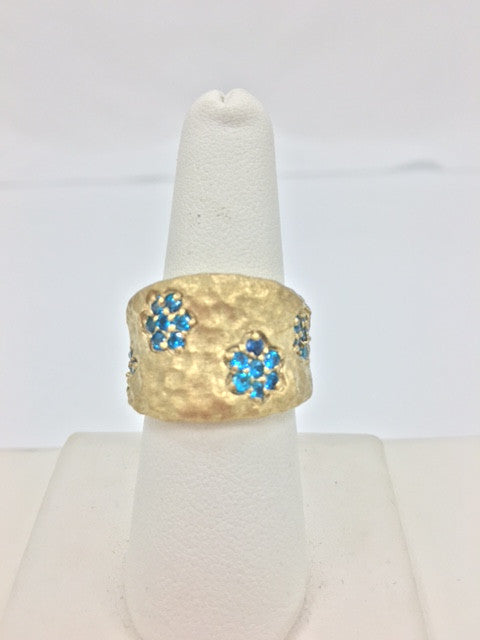 Simulated Blue Diamond Flower Band Ring - Closeout