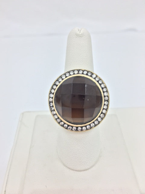 Smokey Crystal & CZ Round Satin Two Tone Ring - Closeout