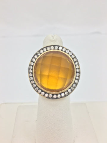 Amber Citrine Crystal & CZ Round Satin Two Tone Ring - Closeout