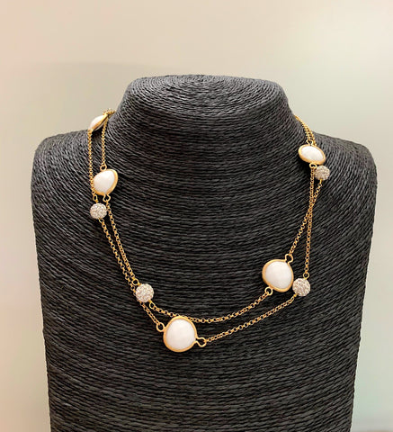 White Agate + Cubic Zirconia Station Necklace - Closeout