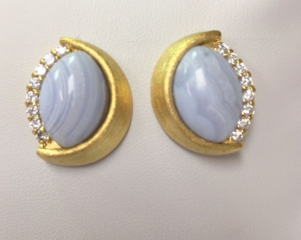 Blue Lace Agate + Simulated Diamond Earrings - Closeout