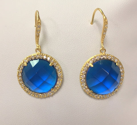 Sapphire Crystal & CZ Round Drop Earrings - Closeout