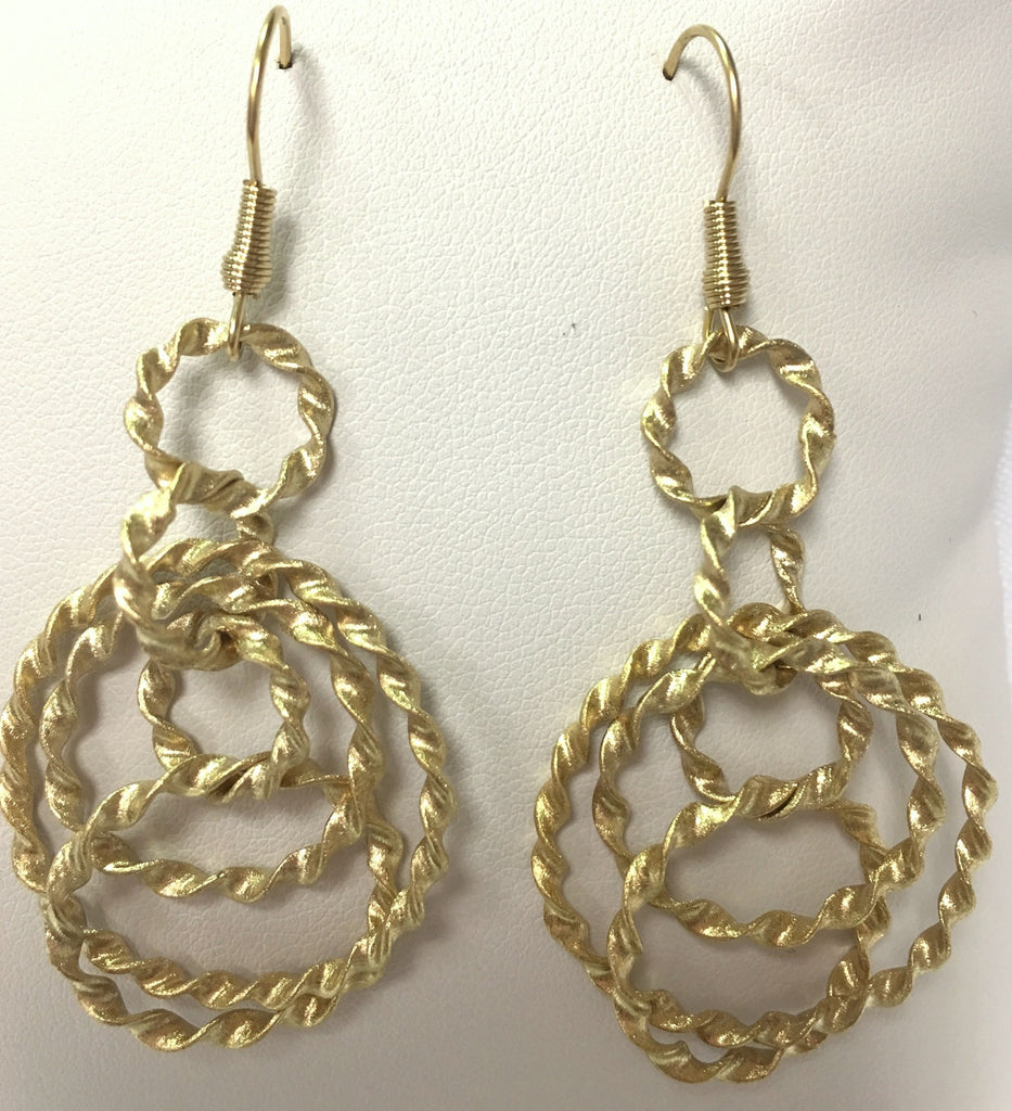 Satin Twisted Multi Ring Drop Earrings - Closeout