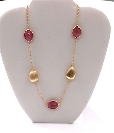 Satin Pebble Station Necklace - Rock Crystal or Cat's Eye Raspberry