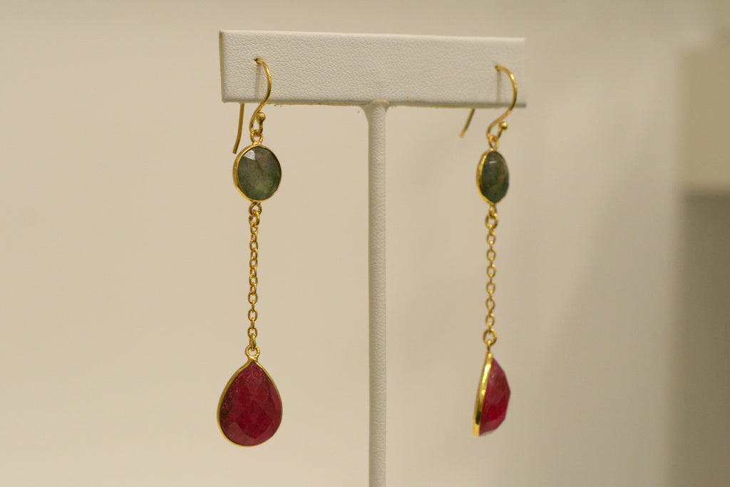 Felix + Lola Labradorite + Ruby Drop Earrings - Closeout