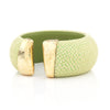 Lime Green Stingray Skin With 18K over Sterling Silver End Caps Cuff - Closeout
