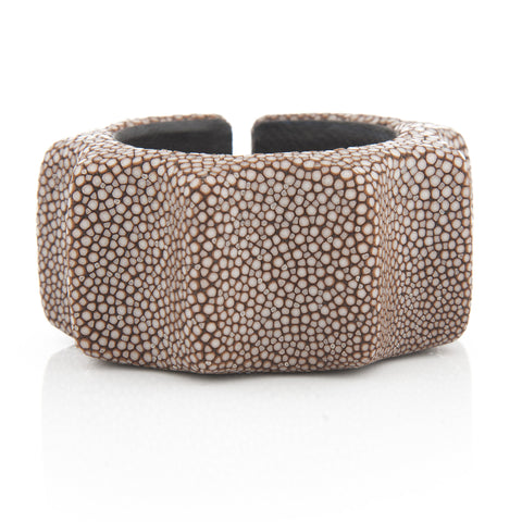 Chocolate Stingray Skin Ribbed Cuff - Closeout