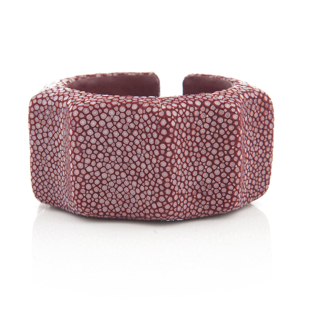 Cabernet Stingray Skin Ribbed Cuff - Closeout