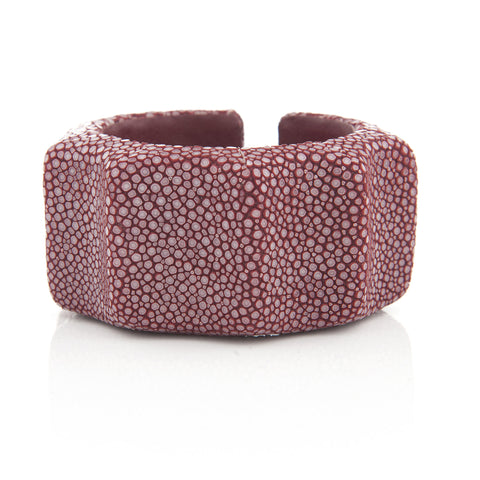 Cabernet Stingray Skin Ribbed Cuff
