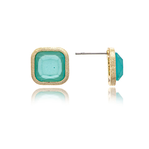Aqua Chalcedony Cushion Stud Earrings