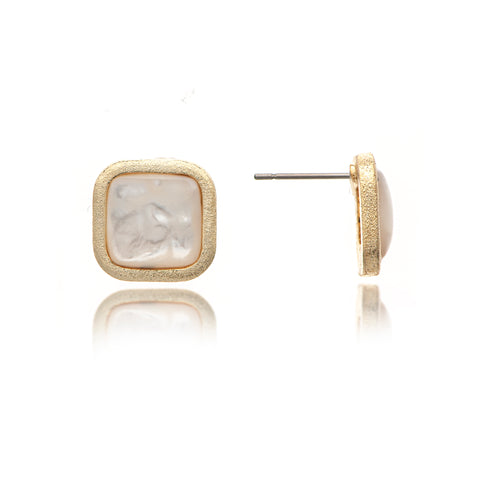 Mother of Pearl Cushion Stud Earrings
