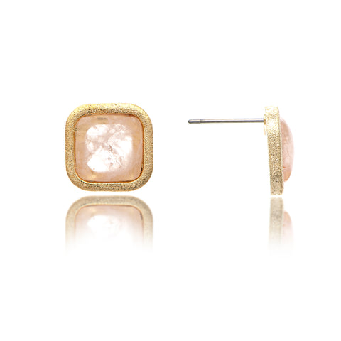 Rose Quartz Cushion Stud Earrings