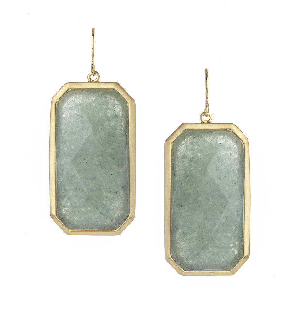 Green Aventurine Rectangle Drop Earrings