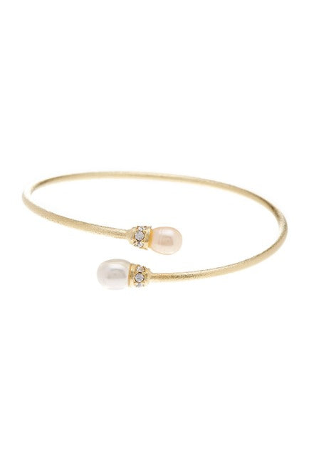 Pearl + Cubic Zirconia Satin Bangle