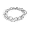 Rhodium Multi Link Double Chain Layered Satin Bracelet