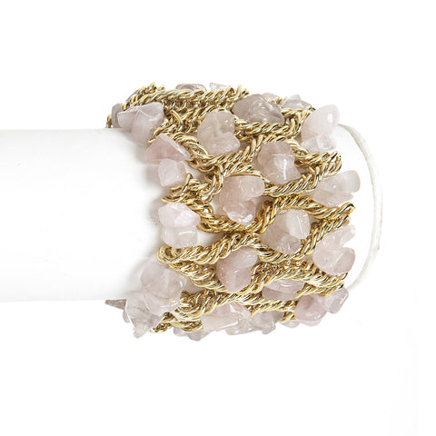 Rose Quartz Wide Elastic Cuff Bracelet