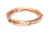 Rose Gold Set of 3 Satin Box Bead Stretch Bracelet