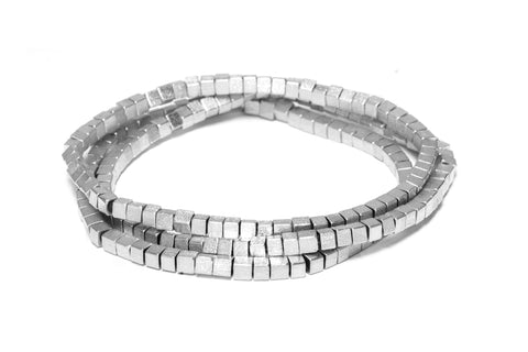 Rhodium Set of 3 Satin Square Bead Stretch Bracelet